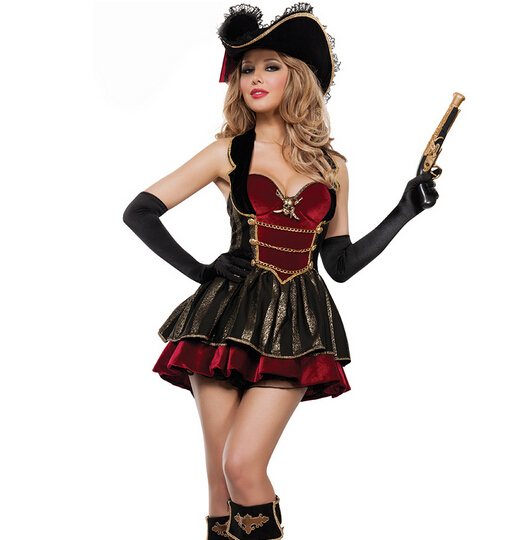 adult carnival cosplay party pirates of the Caribbean sexy fancy clothes dress+hat+gloves women sexy uniform halloween costume