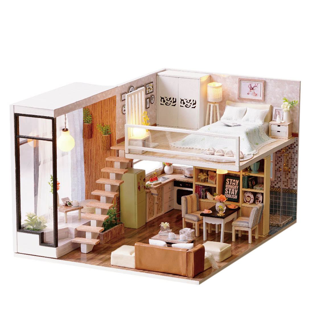 Dollhouse Miniature Christmas Children Gift Dollhouses Waiting for Time Creative 3D DIY Family Doll House Dolls Accessories Toy