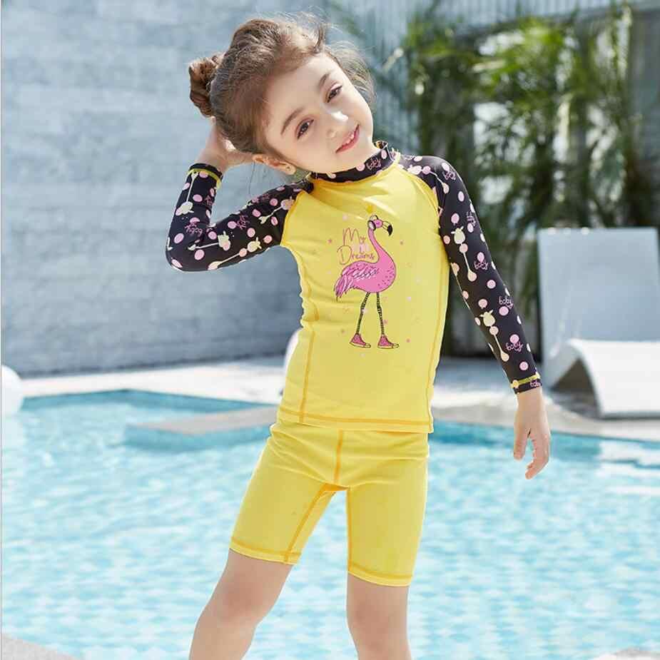 cfa584f0 ... Flamingo 3-9 years old girls swimsuit children Swimwear Summer Beach  Bathing Suit Children long