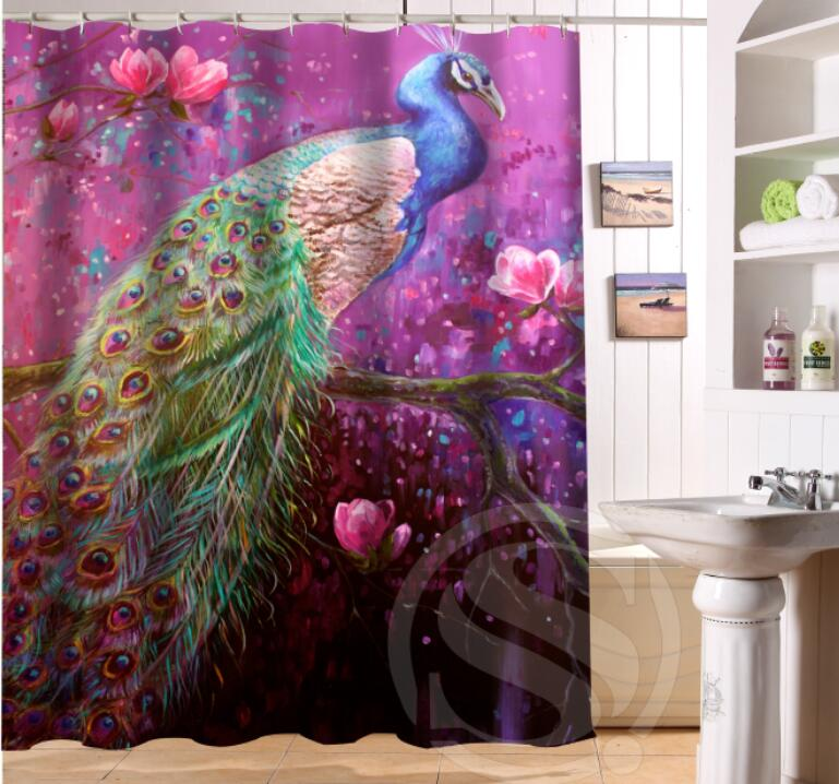 Free Shipping Custom Colorfulful peacock Waterproof Fabric Bathroom Shower Curtain home Decor SQ0622-LQ372