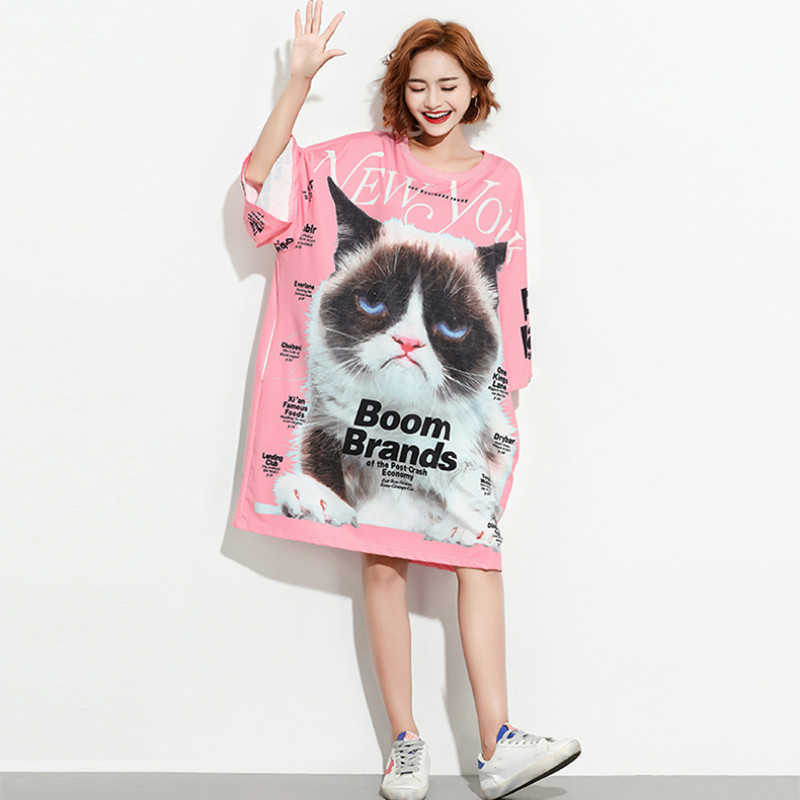 Summer Plus Size Cat Pattern Casual Dress Lady European Style shirt Dresses of the Big Sizes Fit 45 ~ 75 KG Large Size