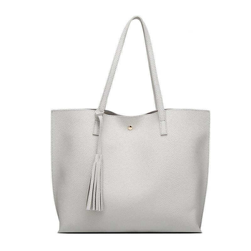 Simple Fashion Women Handbags Leather Solid Color Tassel Pendant Big Capacity Korean Ladies Shopping Travel Hand Bag BS8