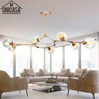 Gloden celling lights Modern pendant lamp kitchen for home decoration lighting Bar elegant Postmodern clear glass lamps