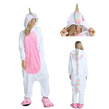 2019 Winter Adults Animal Pajamas Sets Cartoon Sleepwear Unicorn Stitch Kigurumi Unicornio Women Men Warm Flannel Hooded