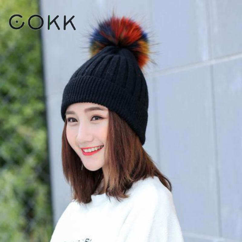 COKK Winter Hats For Women Wool Knitted Cap Real Raccoon Fur Pompom Hat Female Winter Beanie Thick Warm Ski Bonnet Gorros 2017 caudalie