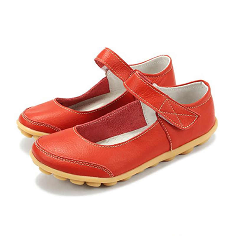 Plardin 2019 de talla grande zapatos de cuero genuino plano tobillo superficial Correa mujer zapatos Ballet pisos mujeres cuatro estaciones bailarina plana