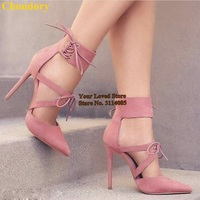 Choudory Charming Pink Grey Pointy Toe Lace up Dress Pumps Cut out Cage Shoes Thin High Heels Wedding Pumps Gladiator Sandals