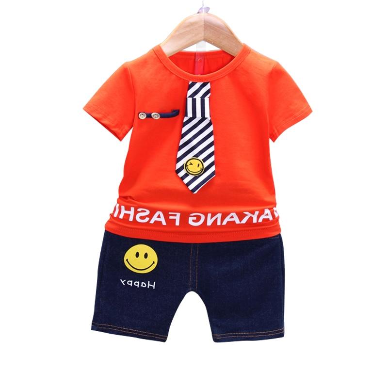 2018 Children Clothes Sets Boy Girl Sport Cotton Clothing English Letter Tie T Shirt Short 2pc/set Kids Summer Smiley Face Suits short smiley