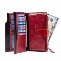 BOSTANTEN Womens Wallet Genuine Leather Wallets Large Capacity Cash Cluth Purses with Zipper Pocket