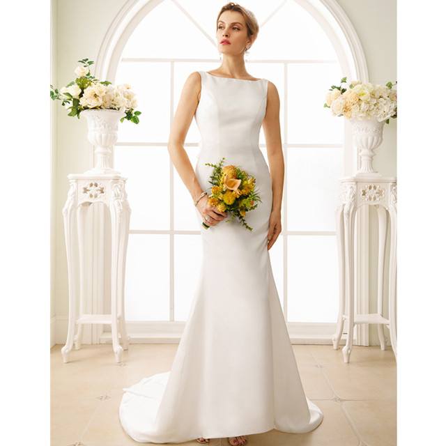 LAN TING BRIDE Mermaid Trumpet Boat Neck Wedding Dress Backless ...