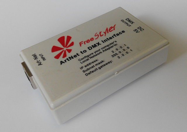 ArtNet naar DMX Interface; Art-Net Protocol ingang; DMX Signalen (Totaal 512 kanalen) uitgang