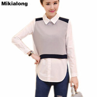 Mikialong Long Tunic Tops For Women 2017 Autumn Split Fake Two Pieces Cotton Blouse Long Sleeve