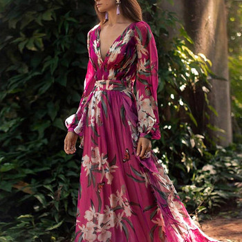 Autumn New Women Fashion Bohemian Floral Printed V Neck Long Sleeve Pleated Chiffon Dress Wholesale Free Ship Z4 new chiffon summer dress women spring floral long sleeve v neck elastic waist sashes dress vintage pleated holiday vestidos