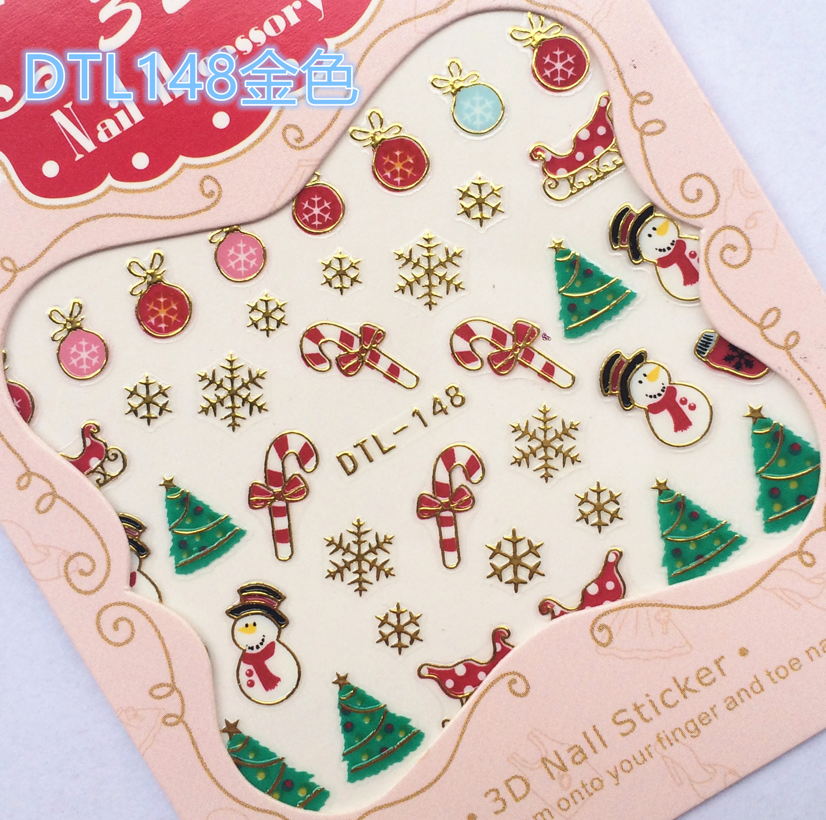 RU2PCS Water Transfer Nails Art Sticker Merry Christmas 3D Golden Elements Nail Wrap Sticker Tips Manicura stickers for Nails