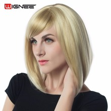 купить Wignee Mixed Color White Blonde Short Straight Hair Bob Wigs With Bangs None Lace Heat Resistant Hair Synthetic Wigs For Women дешево
