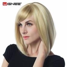 Wignee מעורב צבע לבן בלונדיני קצר שיער ישר בוב פאות עם בנגס אין תחרה חום עמיד שיער סינתטי פאות לנשים