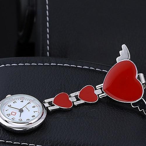 Women Lady Cute Love Heart Quartz Clip-on Fob Brooch Nurse Pocket Watch