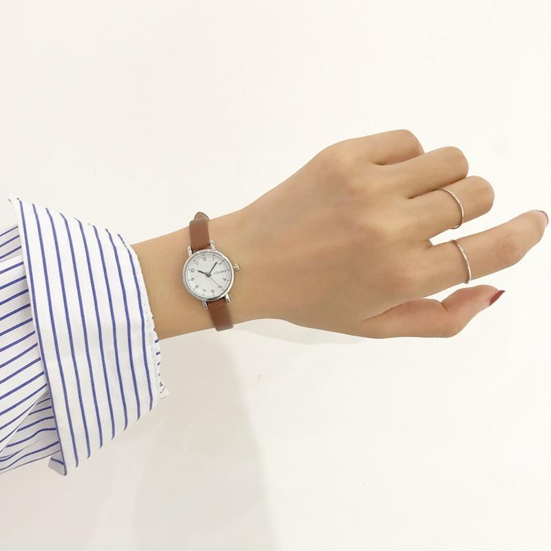 שעון יד נשים עם רצועת עור דק במיוחד חברת Ulzzang 4