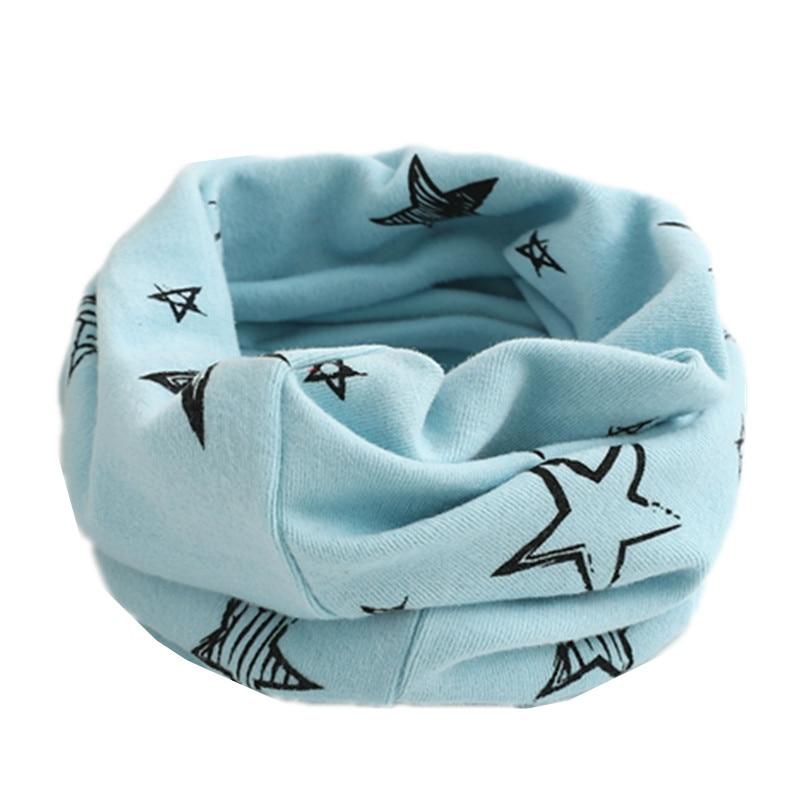 Осенне-зимний детский хлопковый шарф для девочек и мальчиков теплые шарфы Детский круглый кольцевой ошейник Детский шарф детский волшебный шейный платок - Цвет: light blue star