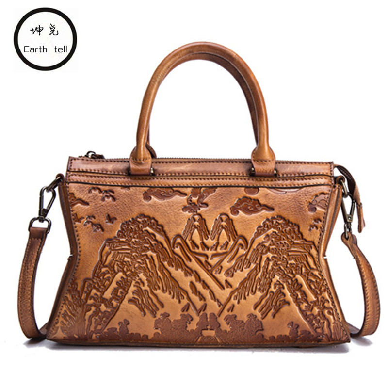 Genuine leather women shoulder crossbody bag for female 2018 new luxury embossed handbags brand handbag designer messenger bags