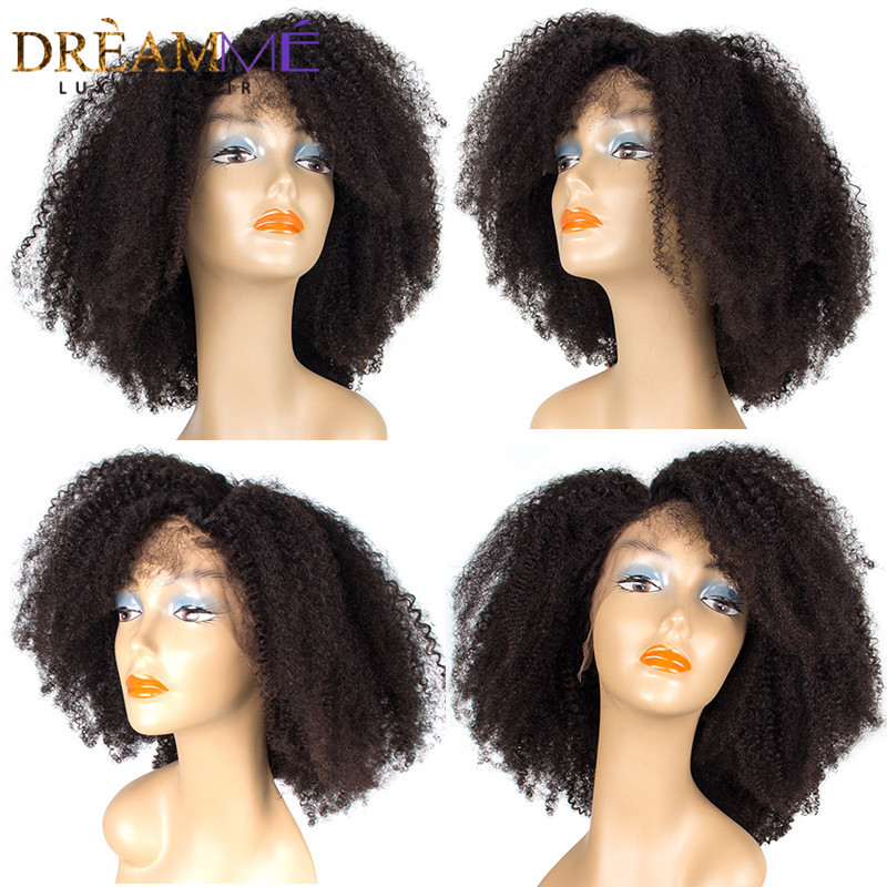 Mongolian Afro Kinky Curly Lace Front Human Hair Wig Natural Line 13x4 130% Remy Wig With Baby Hair For Black Woman Dreamme Hair