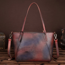 New Vintage Brush Color Handmade Women's Bags Simple Genuine Leather Female Shoulder Messenger Bags Casual Shopping Bags LS8830