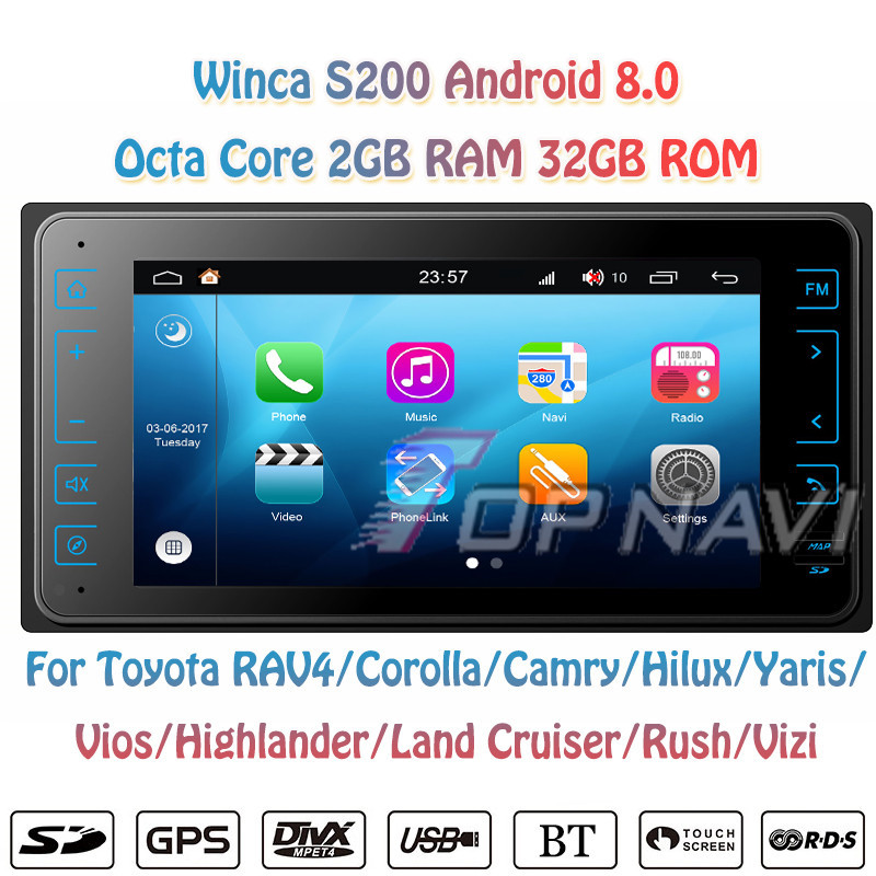 Topnavi Octa Core S200 Android 8.0 Car Multimedia Player for toyota universal new Audio Radio Stereo 2DIN GPS Navigation NO DVD