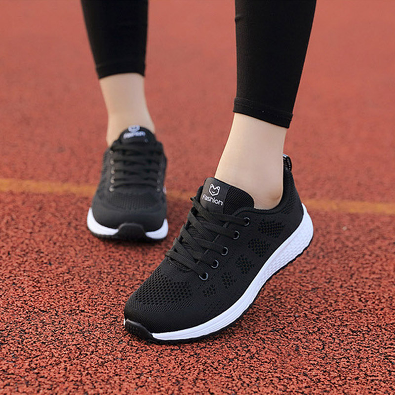 Womens Sneakers 39 Soft Light Comfotrable Breathable Mesh Running Shoes Woman Lifestyle Lace up black Sport Shoes women female