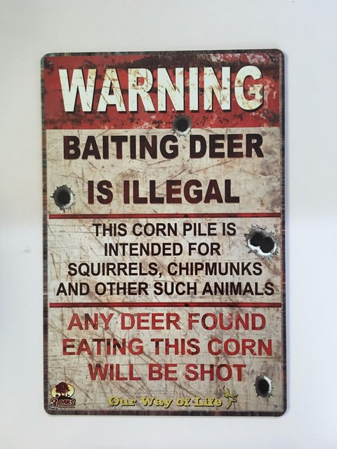 """Metal Sign Letters Wholesale 20X30Cm Tin Sign Letters Sign """"warning Baiting Deer Is Illeagl"""