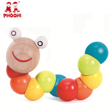 Kids Wooden Caterpillar Education Toy Children Twisting Educational Animal Toy For Toddler PHOOHI FHR6019-3 jiahui a075 geometric figure wooden education toy for kids red green yellow purple blue