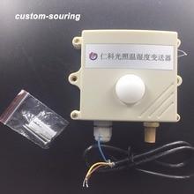 Trasporto libero 0 200000lux 3in1 sensore di intensità luminosa/RS485 protocollo modbus di Temperatura e di umidità sensore del Trasmettitore di per