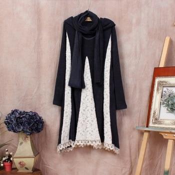 renda vestido festa dames jurken lace tshirt linen sweater lace patchwork tunique lolita vestiti uzun elbise autumn winter dress