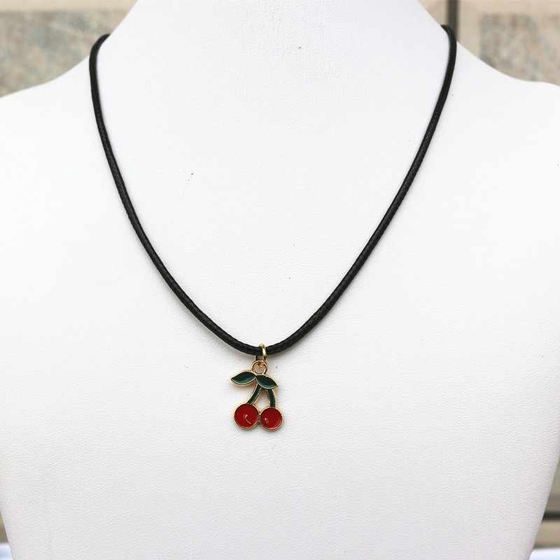 Cherry Pendant Necklace PU Leather Cord String Short Chain Necklace for Women Handmade Jewelry Wholesale