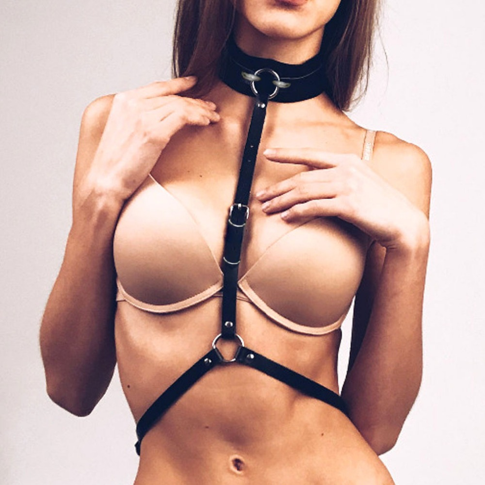 Harness Punk Metal Ring Wide Collar Around Neck Adjustable Buckles Waist Belts Leather Cool Sexy Women Gothic Heavy metal Hip