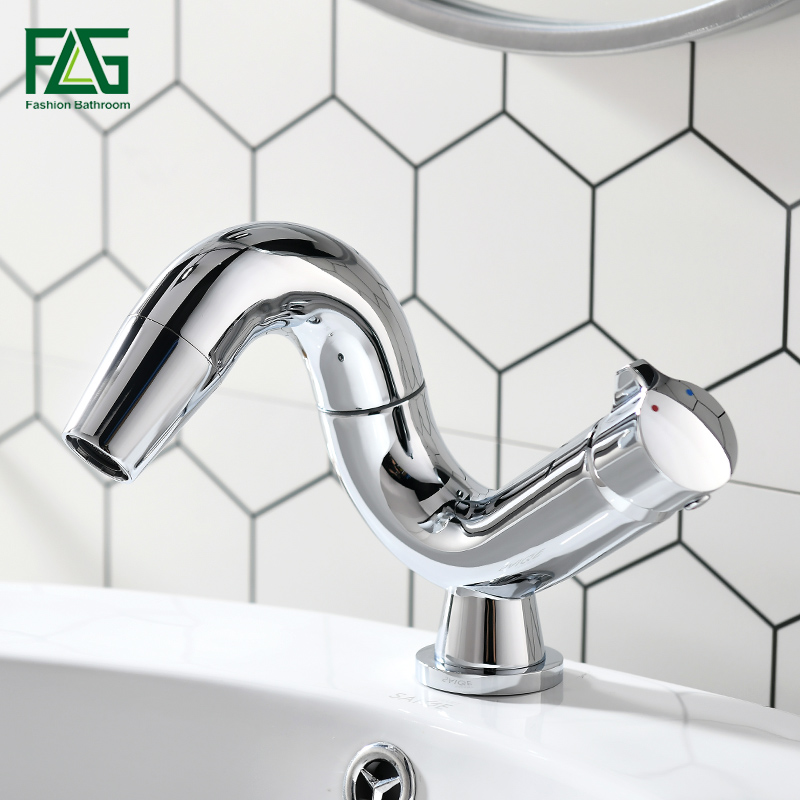 FLG Bathrom Faucet For Sink Hot Cold Water Tap Contemporary 360 Degree Rotate Brass Single Lever Wash Basin torneira