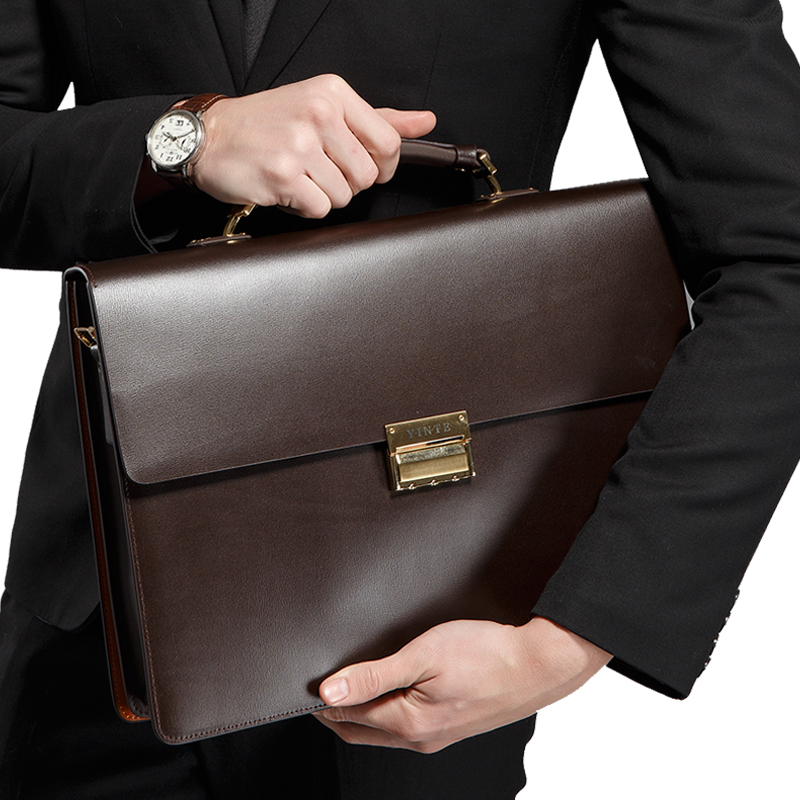 YINTE Men Laptop Bag Leather Shoulder Bag New Fashion Black 14inch Computer Handbag Business Briefcase For Men Briefcase T8058-5