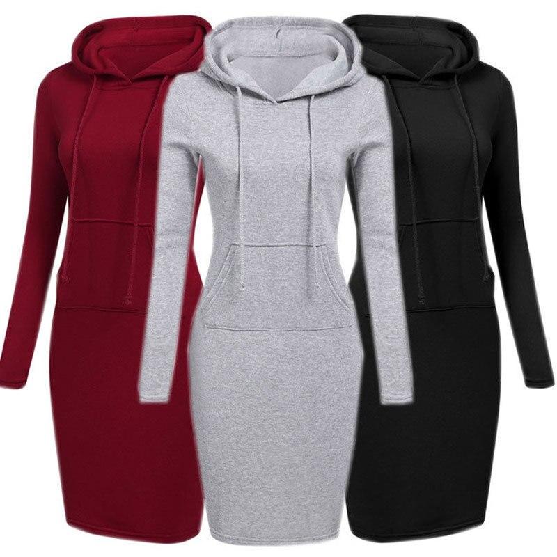Encapuzado Vestido de Moletom Com Capuz Para Mulheres 2018 Outono Inverno do Velo Hoodies Sólida Com Bolsos Camisola Vestidos das Mulheres Vestidos Casuais