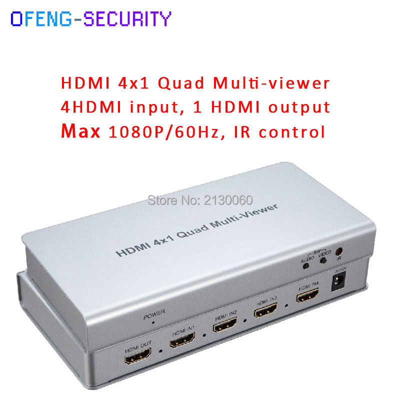 HDMI 4*1 Quad multi-viewer ,4HDMI input,1 HDMI input max 1080P with IR control for 12V/ 2A power