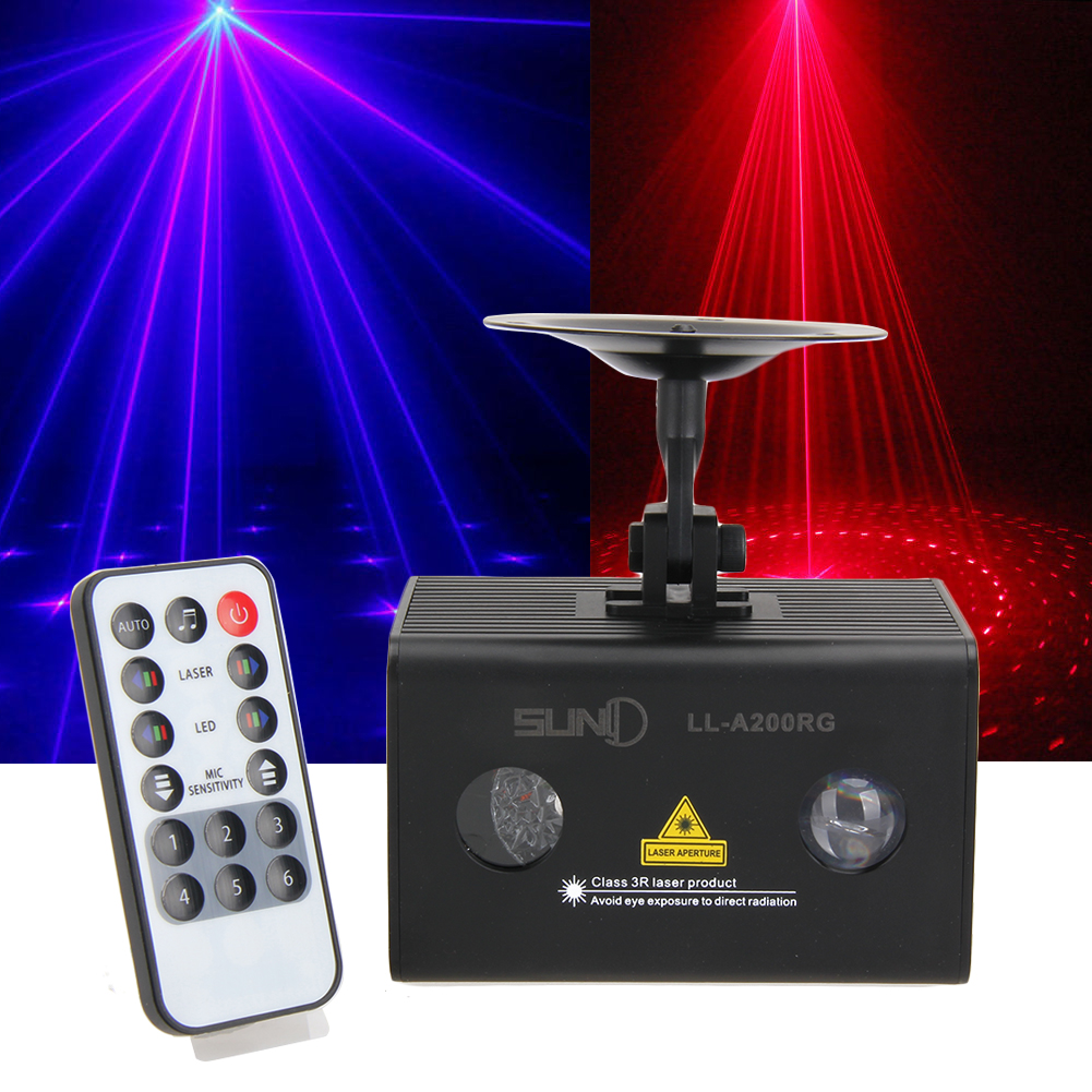 ФОТО Suny 9W Watermark Laser LED Projector AC110V-240V Stage Lighting Effect IR Remote DC12V 1A Output DJ Xmas Disco Party Club Light
