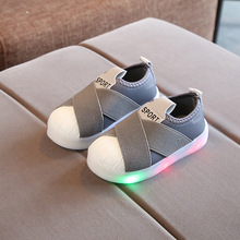 Spring Autumn Child LED Shell Head Kid Baby Flat Shine Sneakers Boys Girls  Shoes(China 9cc2e2383852