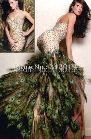 sin tirantes cariño rebordear plumas pavo real vestidos 2018 vestido