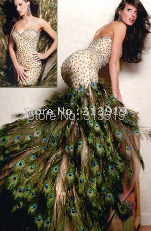 Бесплатная доставка милая декольте перо павлина пром платья 2016 горячие продажа обычай делать