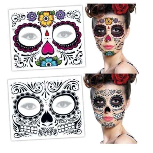 1pc Zombie Day Of The Dead Temporary Tattoo Mask Costume Sugar Skull