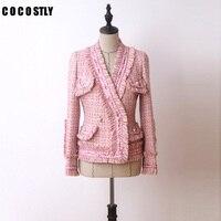 Высококачественная винтажная твидовая куртка с кисточками Женская твид короткая куртка с v образным вырезом офисный розовый топ jaqueta feminina