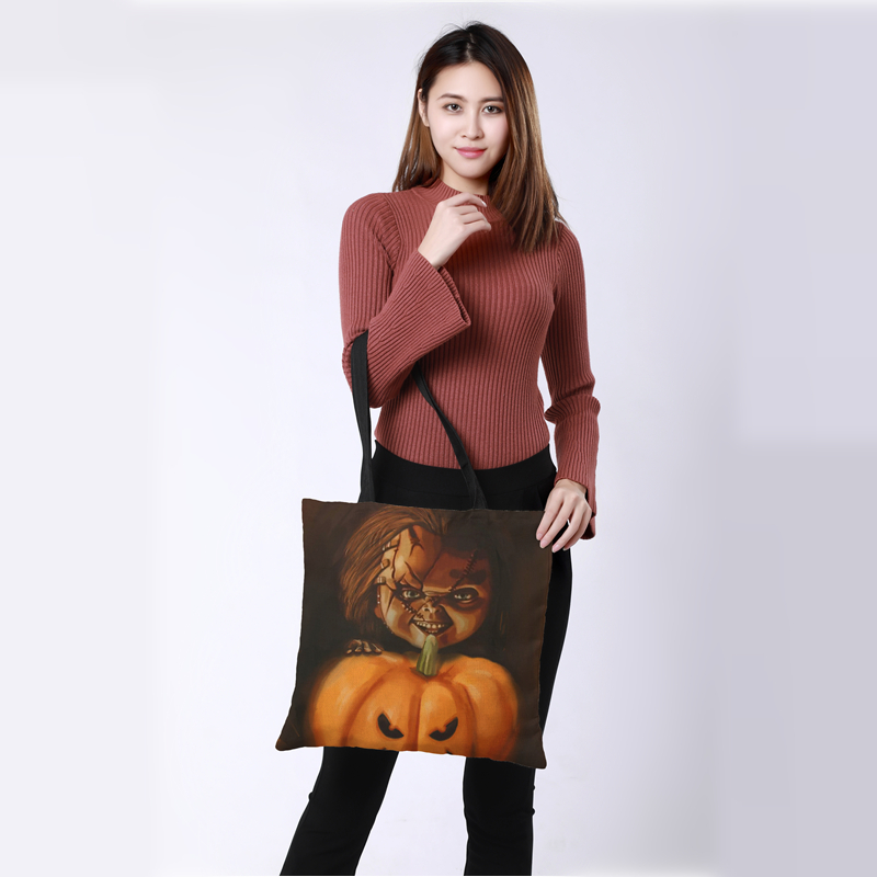 CROWDALE 43cm*43cm Double-sided printing pumpkin style Printed Women Large Shopping Bag Ladies Linen sack Halloween gift bag