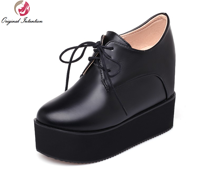 Original Intention Women Casual Shoes Fashion Round Toe Increasing Heels Black White High-quality Shoes Woman Plus Size 4-15