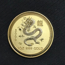 10 Pcs Non Magnetic The Australian Chinese Dragon Zodiac 2000 gold plated 1 OZ 34 mm Elizabeth collectible sourvenir animal Coin