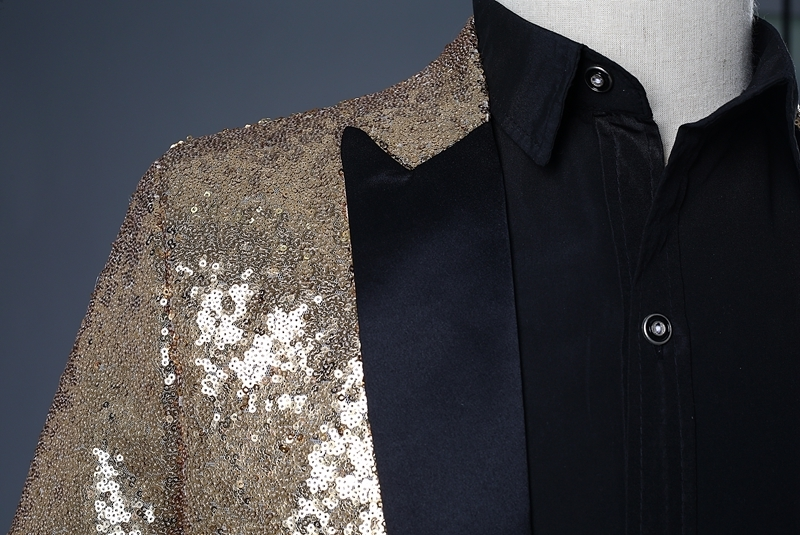 Image 4 - PYJTRL 2018 Men Gold Silver Red Blue Black Sequin Slim Fit  Tailcoat Stage Singer Prom Dresses Costume Wedding Groom Suit Jacket-في  السترات من ملابس الرجال على