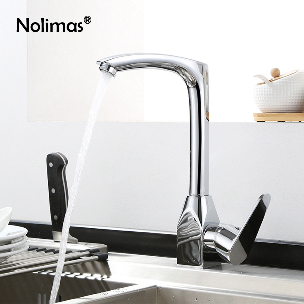 Brass Kitchen Faucet Sink Mixer Tap Finish Chrome Hot Cold Tap Single Hole Single Handle Water Mixer Kitchen Accessories black chrome kitchen faucet pull out sink faucets mixer cold and hot kitchen tap single hole water tap torneira