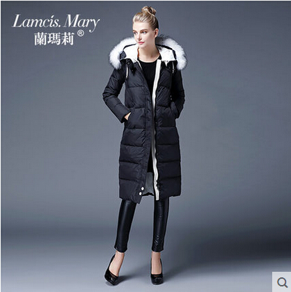 2015 new Hot winter Thicken Warm Woman Down jacket Coat Parkas Outerwear Hooded Raccoon Fur collar Slim Luxury long plus size XL 2015 new winter warm cold woman down jacket coat parkas outerwear luxury hooded raccoon fur collar long plus size xl straight
